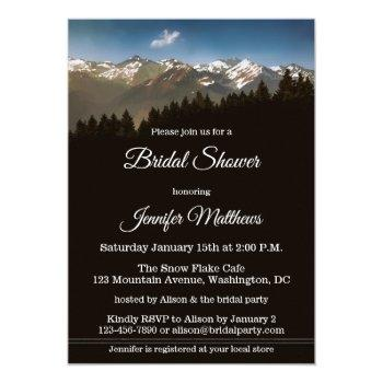 snow on mountain winter bridal shower invitation