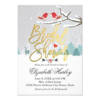 snow scene bridal shower winter wedding invitation