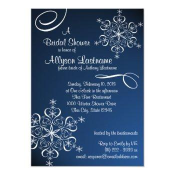 snowflake blue bridal shower invitation