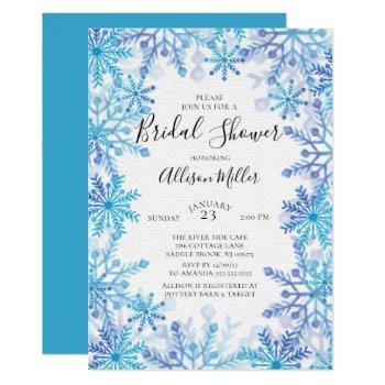 snowflakes winter bridal shower invitation