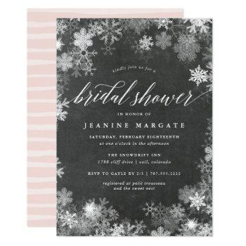snowy frame | rustic winter bridal shower invitation