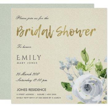 soft aqua blue watercolour floral bridal shower invitation