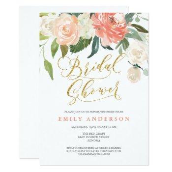 soft bloom peach floral bridal shower invitation