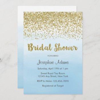 soft blue and gold bridal shower invitation