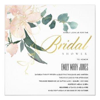 soft blush floral bunch watercolor bridal shower invitation