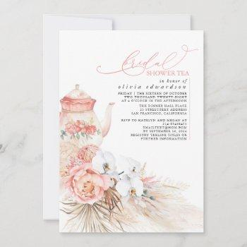 soft pink floral pampas grass bridal shower tea invitation
