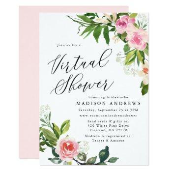 soft pink floral virtual bridal shower invitation