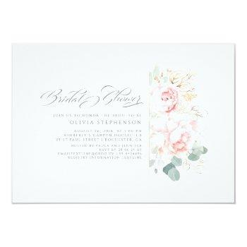 Soft Pink Flowers And Gold Greenery Bridal Shower  Invitation Front View
