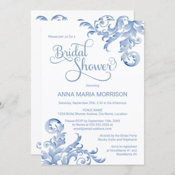 soft royal blue watercolor flourish bridal shower invitation
