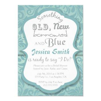 something old new borrowed & blue bridal shower invitation