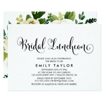 southern calligraphy | floral back bridal luncheon invitation