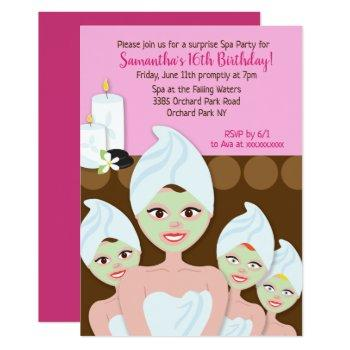 spa girls birthday invitation, any age invitation
