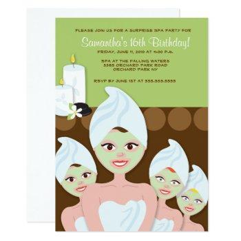 spa girls party birthday or bridal shower 5x7 invitation