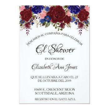 spanish bridal shower navy burgundy floral invitation