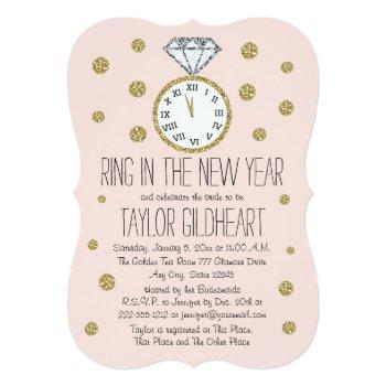 sparkle diamond ring new year's eve bridal shower invitation