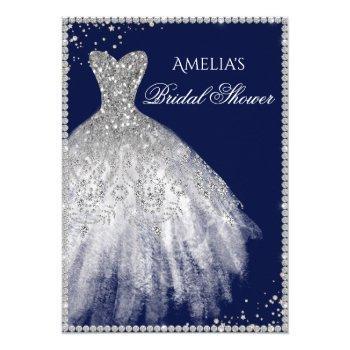 sparkle dress silver navy bridal shower invitation