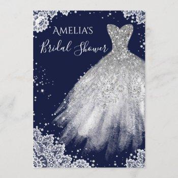 sparkle dress white lace navy bridal shower invitation