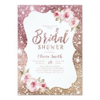 sparkle rose gold glitter and floral bridal shower invitation