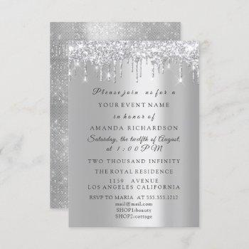 sparkly glitter silver gray  bridal birthday invitation