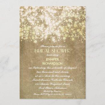 sparkly glitter string lights bridal shower invitation