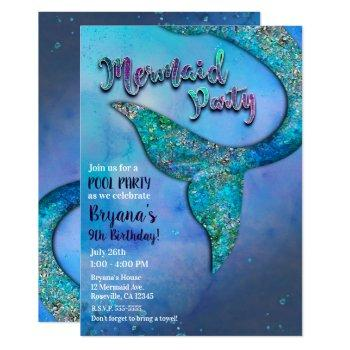 sparkly ocean mermaid fin tail birthday party invitation