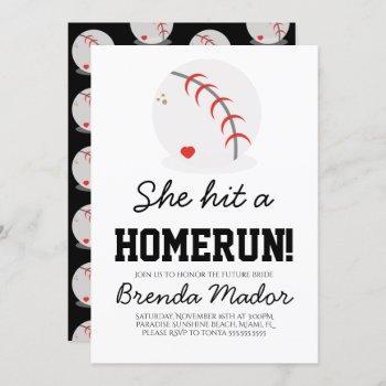 sports baseball homerun lovers bridal shower invitation