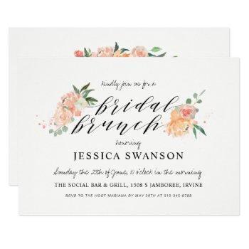 spring blush peach watercolor floral bridal brunch invitation