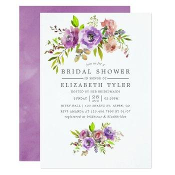 spring bridal shower watercolor floral invitation