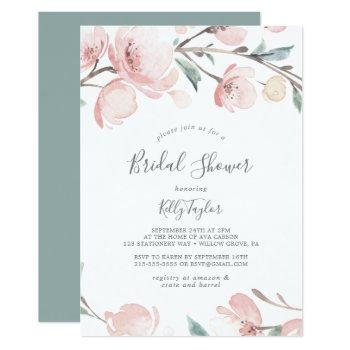 spring cherry blossom bridal shower invitation