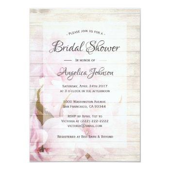 spring rustic cherry blossoms floral bridal shower invitation