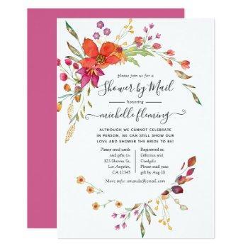 spring wild flower bridal shower by mail invitation
