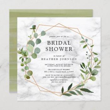 square copper geometric marble eucalyptus shower invitation