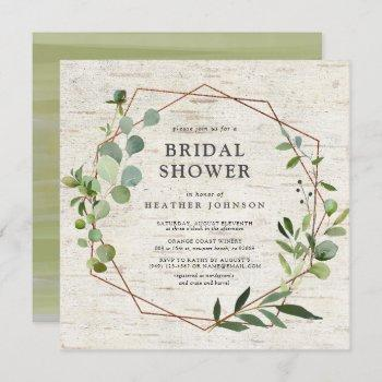 square rustic copper geometric eucalyptus shower invitation