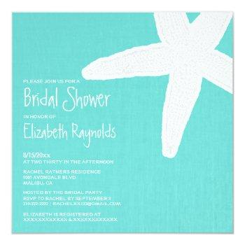 starfish beach bridal shower invitations