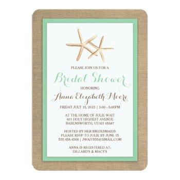starfish burlap beach bridal shower invitation