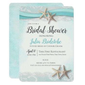 starfish ribbon vintage beach bridal shower invitation