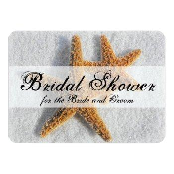 starfish sand beach couples his/hers bridal shower invitation