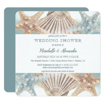 starfish seashell beach couples wedding shower invitation