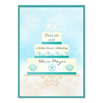 starfish wedding cake bridal shower invitations