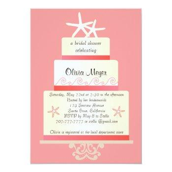starfish wedding cake invitations - coral
