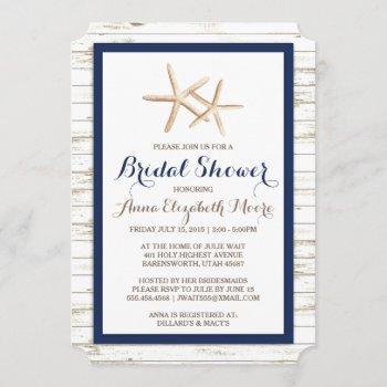 starfish whitewashed wood beach bridal shower invitation