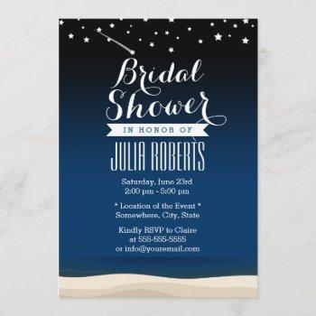 starry night beach bridal shower invitations