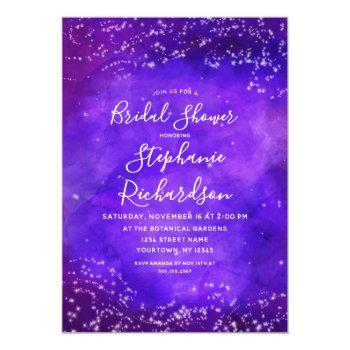 starry night galaxy bridal shower invitation