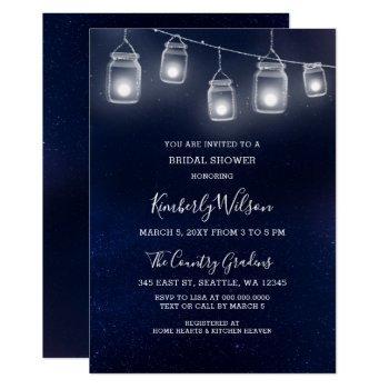starry sky mason jars wedding bridal shower invitation