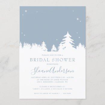 starry winter nights dusty blue bridal shower invitation