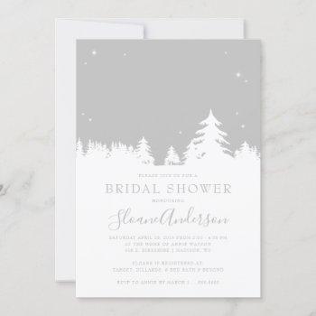 starry winter nights gray bridal shower invitation