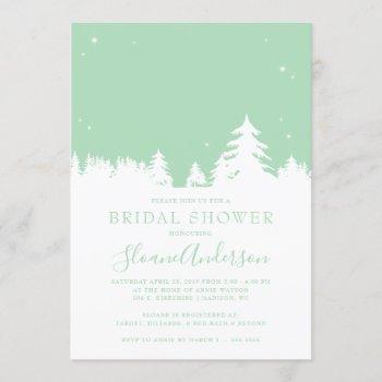 starry winter nights neo mint bridal shower invitation