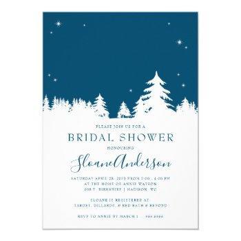 starry winter nights steel blue bridal shower invitation