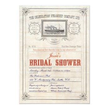 steamship cruise ticket invitation bridal shower