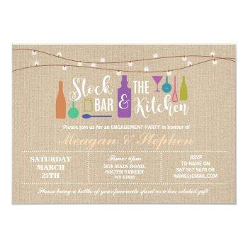 stock the bar & kitchen engagement couples ≈ invitation